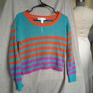 Flying Tomato Spring Sweater Striped Crochet S